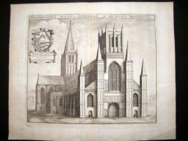 Hollar C1660 Folio Antique Print. Hereford Cathedral Etching